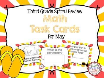 Third Grade Spiral Math Task Cards for May