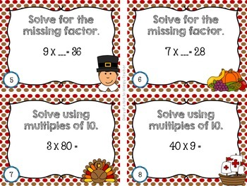 Third Grade Spiral Math Task Cards for November