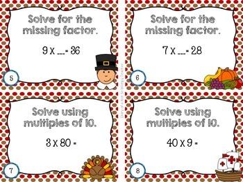 Third Grade Spiral Math Task Cards for November