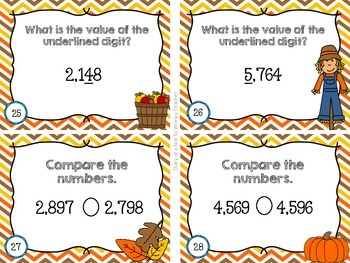 Third Grade Spiral Math Task Cards for October