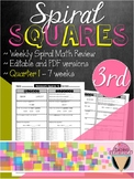 Third Grade Spiral Review Homework Squares - Quarter 1