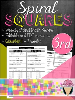 Third Grade Spiral Review Homework Squares - Quarter 1