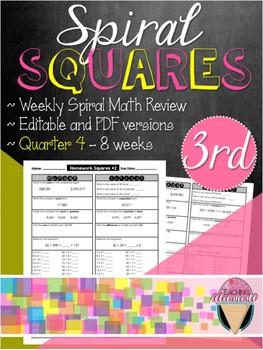 Third Grade Spiral Review Homework Squares - Quarter 4