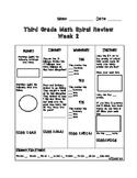 Third Grade Math Spiral Review Week 2