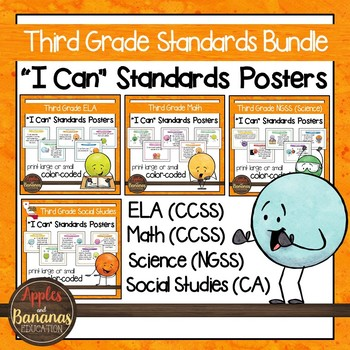 """Third Grade Standards - All Subjects """"I Can"""" Posters & Statement Cards"""