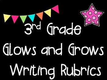 Third Grade Standards Based Glows and Grows Writing Rubrics