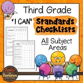 """Third Grade Standards Checklists for All Subjects  - """"I Can"""""""