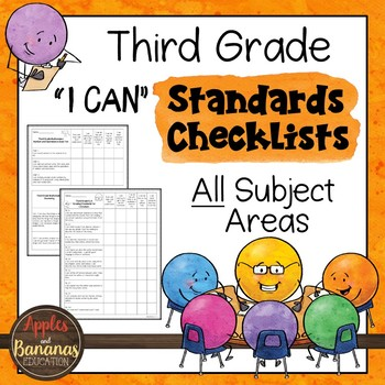 "Third Grade Standards Checklists for All Subjects  - ""I Can"""