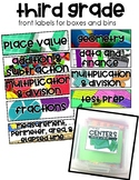 Third Grade Stations by Standards Labels Free