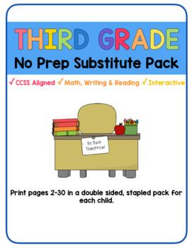 Third Grade Sub Packet- No Prep!