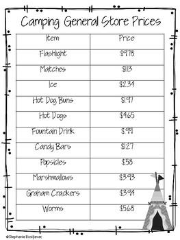 Third Grade Sub Plans (Camping Theme)