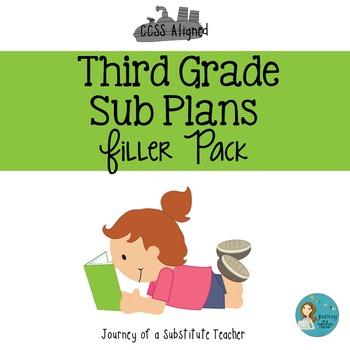 Third Grade Sub Plans Filler Pack
