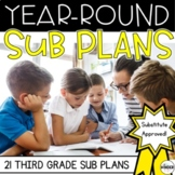 Third Grade Sub Plans for the Entire Year GROWING BUNDLE + Editable Sub Info