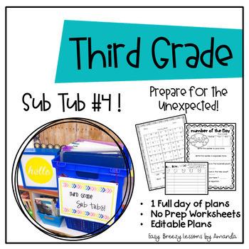 Third Grade Sub Tub 4 (Full Day of Plans. No Prep)