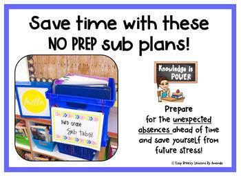 Third Grade Sub Tub Bundle (1 Week. No Prep Plans for Substitute)