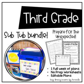 Third Grade Sub Tub Bundle (1 Week. No Prep Plans for Substitute)