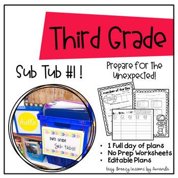 Third Grade Sub Tub 1 (Full Day of Plans. No Prep)