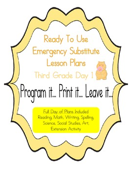 Third Grade Editable No Prep Substitute, Emergency Lesson Plans,  Day 1
