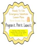 Third Grade Editable No Prep Substitute, Emergency Lesson
