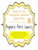 Third Grade Editable No Prep Substitute, Emergency Lesson