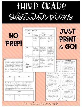 Third Grade Substitute Plans (Emergency Plans)