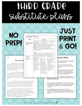Third Grade Substitute Plans  Day 2 (Emergency Plans)