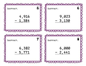 Third Grade Subtraction Task Cards