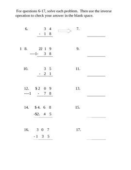 3rd Grade Subtraction Test 3.NBT.2 (35 questions with enrichment)
