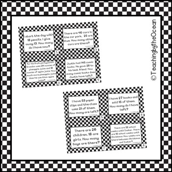 Third Grade Subtraction Word Problem Task Cards