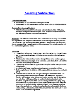 Third Grade Subtraction(three-digit) Common Core Lesson