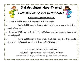 Third Grade - Super End of School Year Super Hero Certificates