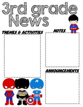Third Grade Superhero - Editable Word Newsletter