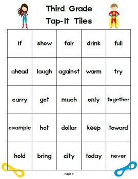 Third Grade Superhero Tap-It Tiles: Sight Word and High Frequency Word Charts