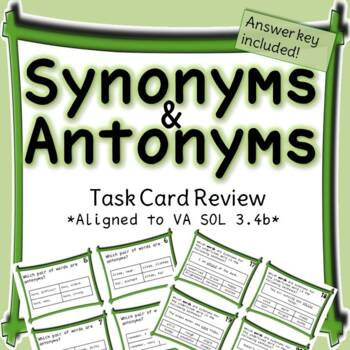 Third Grade Synonyms and Antonyms Task Cards