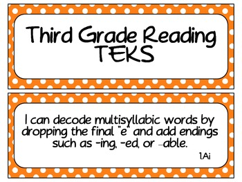 Third Grade TEKS Cards with Polka Dot Borders #2