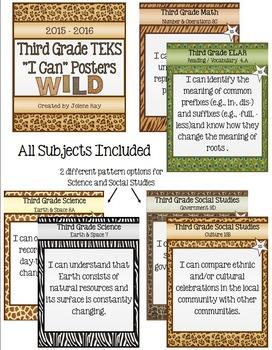 "Third Grade TEKS ""I Can"" Poster Bundle: Wild Animal Print Theme"