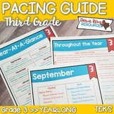 Third Grade TEKS Year Planner- Back to School-Texas 3rd Curriculum Pacing Guide