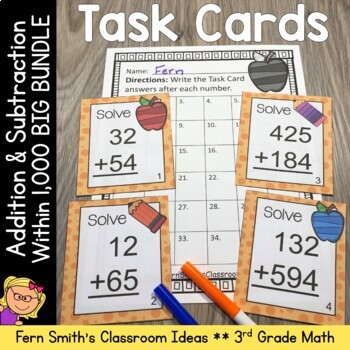 Task Cards Addition and Subtraction Within 1000 and Place Value Bundle
