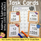 Third Grade Math Task Cards for Add + Sub Withing 1000 and