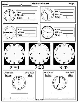 Third Grade-Telling Time Assessment