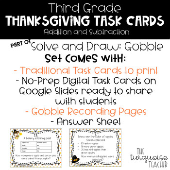 Third Grade Thanksgiving Addition Subtraction Math Task Cards Google Classroom