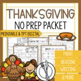 Third Grade Thanksgiving Math and Reading Worksheets | Tha