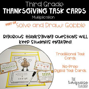 Third Grade Thanksgiving Multiplication Math Task Cards / Google Classroom