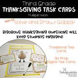 Third Grade Thanksgiving Multiplication Math Task Cards /