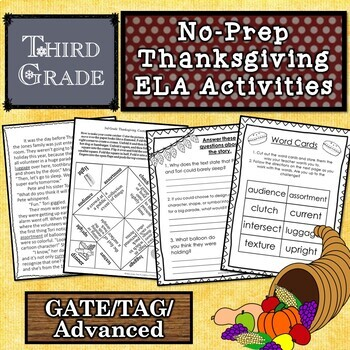Third Grade Thanksgiving Story and Activities for Gifted / TAG / GATE