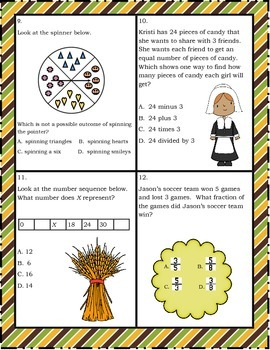 Third Grade Thanksgiving Themed Word Problem Task Cards