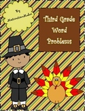 Third Grade Thanksgiving Themed Word Problem Task Cards