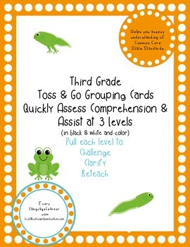 Third Grade  Toss & Go Grouping Cards Quickly Assess Comprehension & Assist