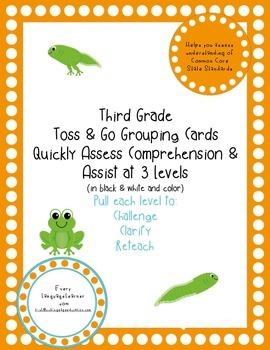 Third Grade  Toss & Go Grouping Cards Quickly Assess Compr