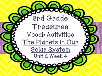 Third Grade Treasures 4 Vocabulary Games Planets Solar System Unit 2 Week 4